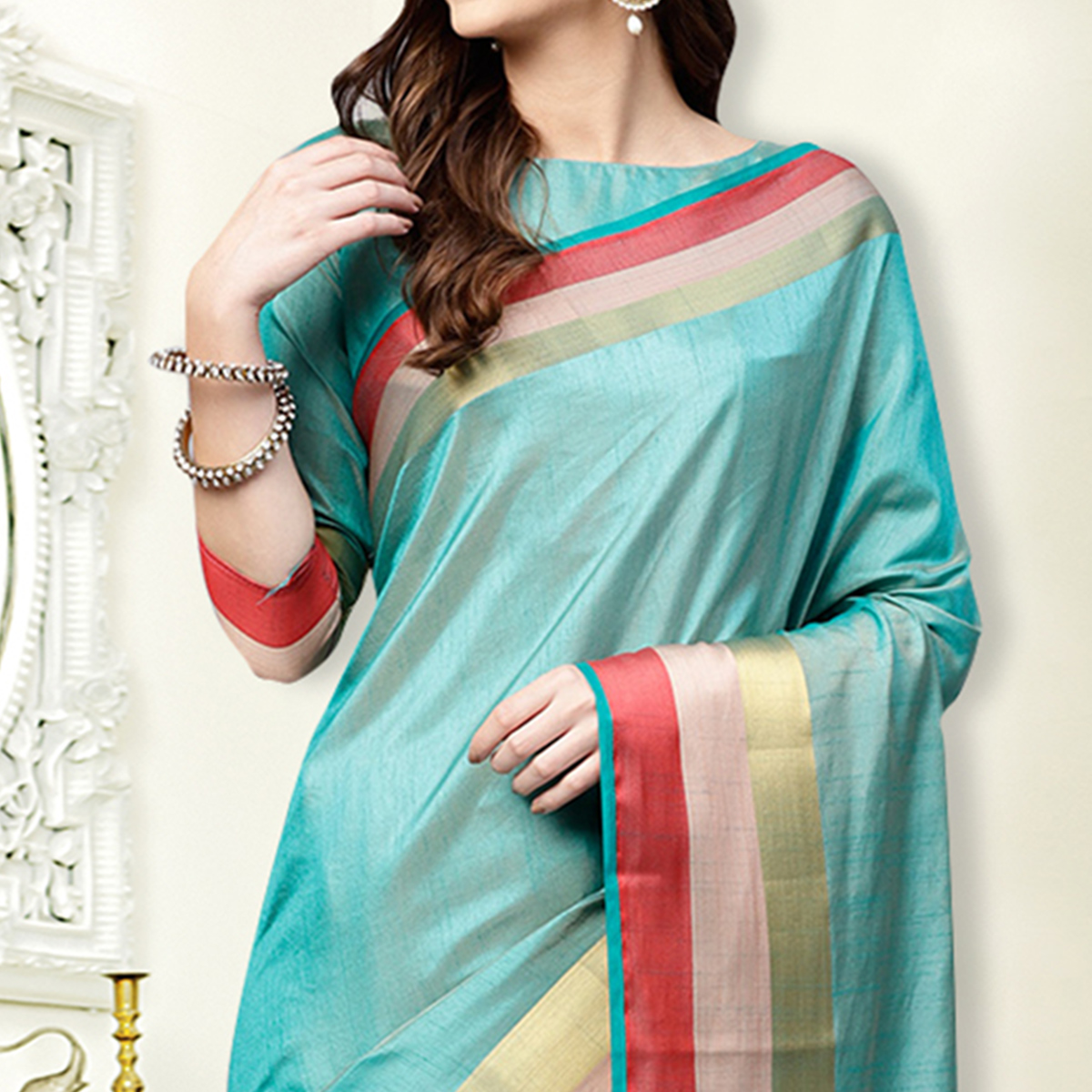 Blooming Sky Blue Colored Festive Wear Silk Saree