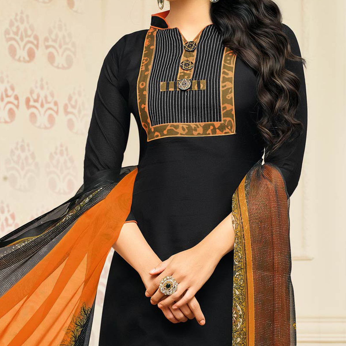 Stunning Black Designer Chanderi Cotton Dress Material