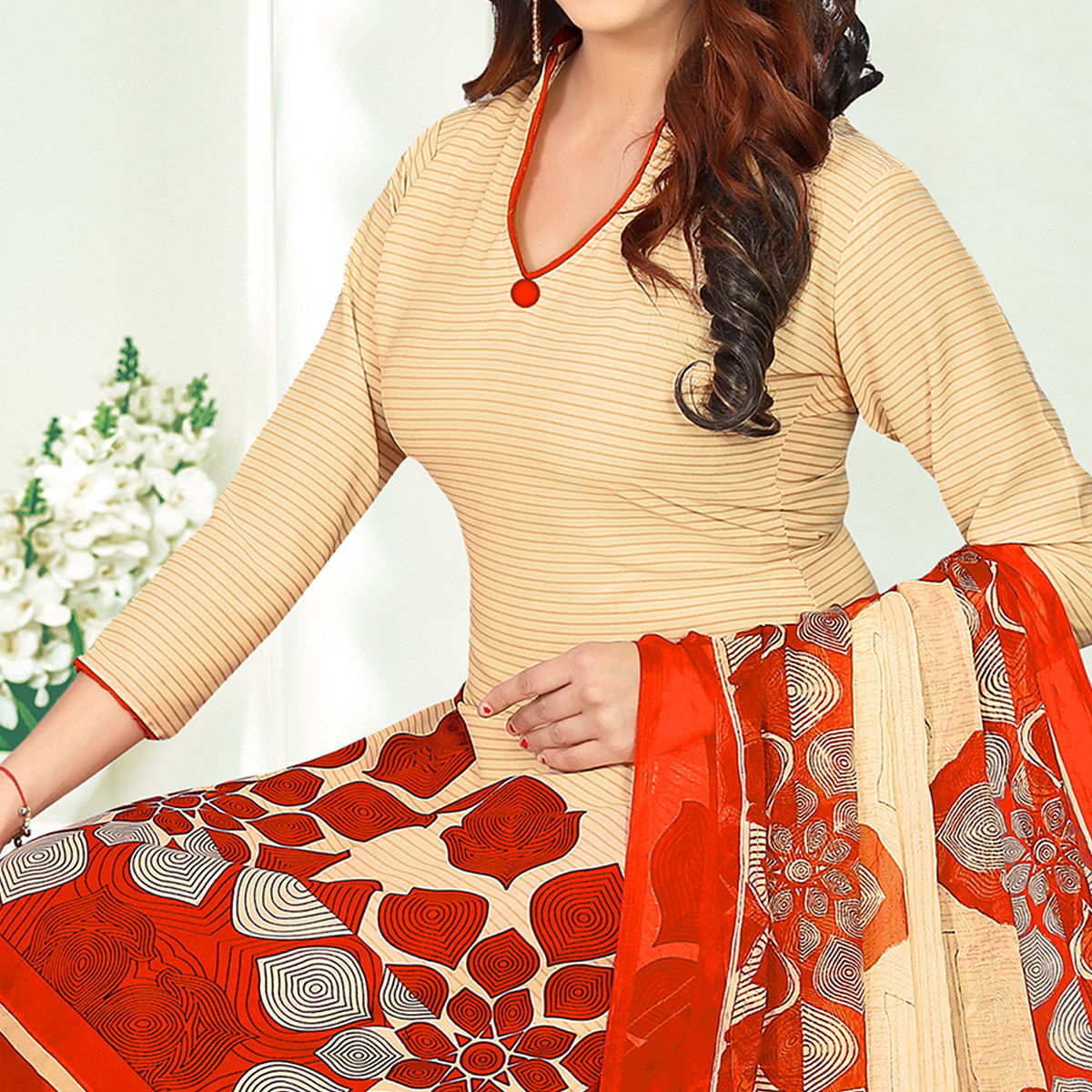 Mesmeric Beige-Red Colored Casual Printed Crape Dress Material