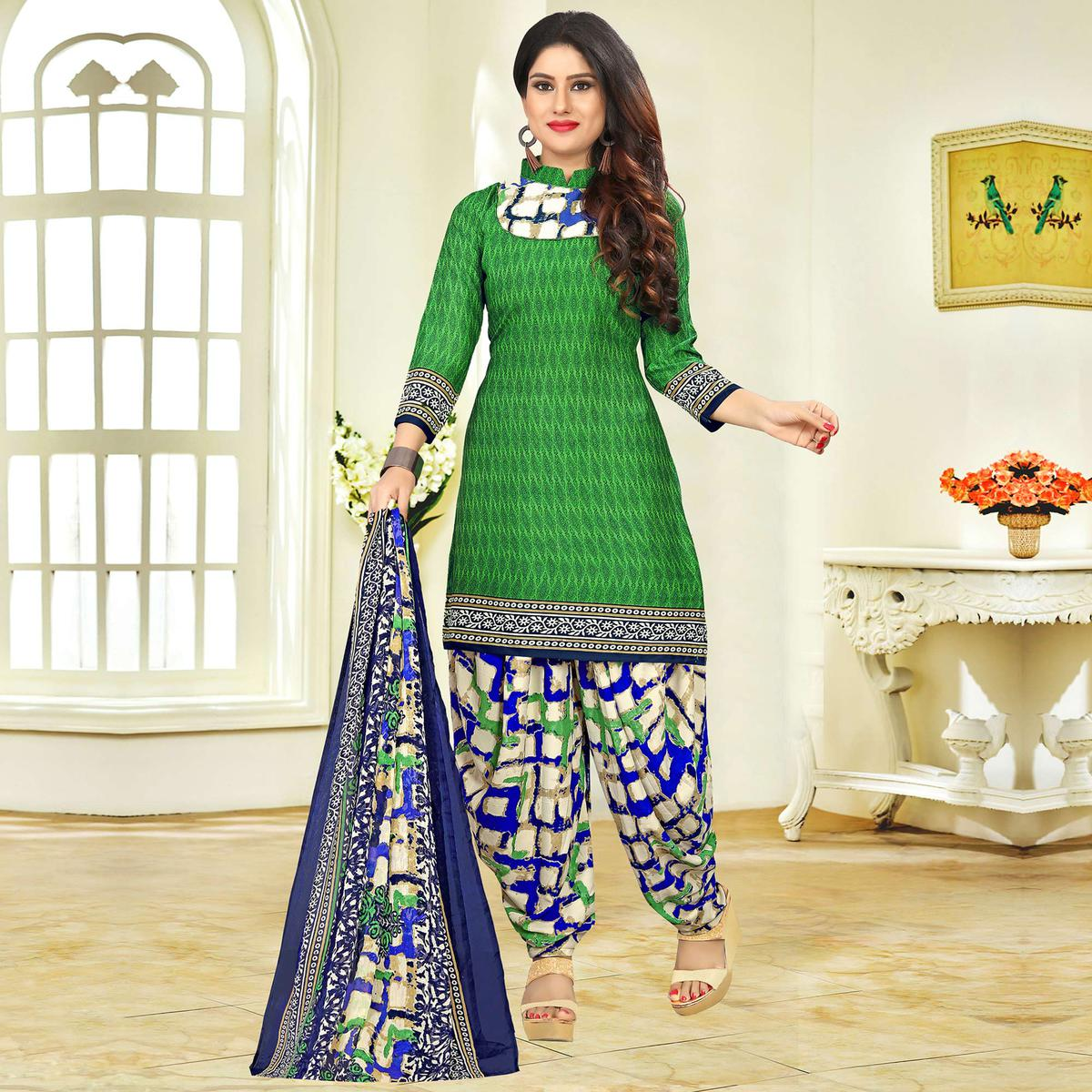Desirable Green Colored Casual Printed Crape Dress Material