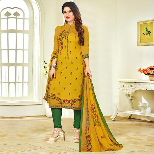 Sophisticated Mustard Yellow Colored Casual Printed Crape Dress Material
