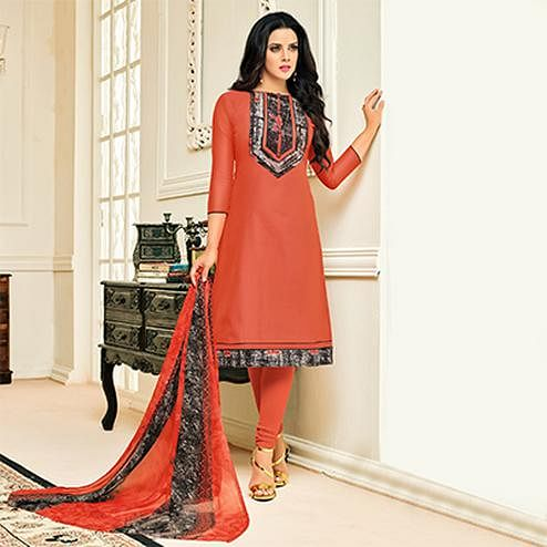 Beautiful Orange Designer Chanderi Cotton Dress Material
