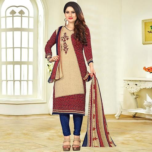 Elegant Beige-Maroon Colored Casual Printed Crape Dress Material
