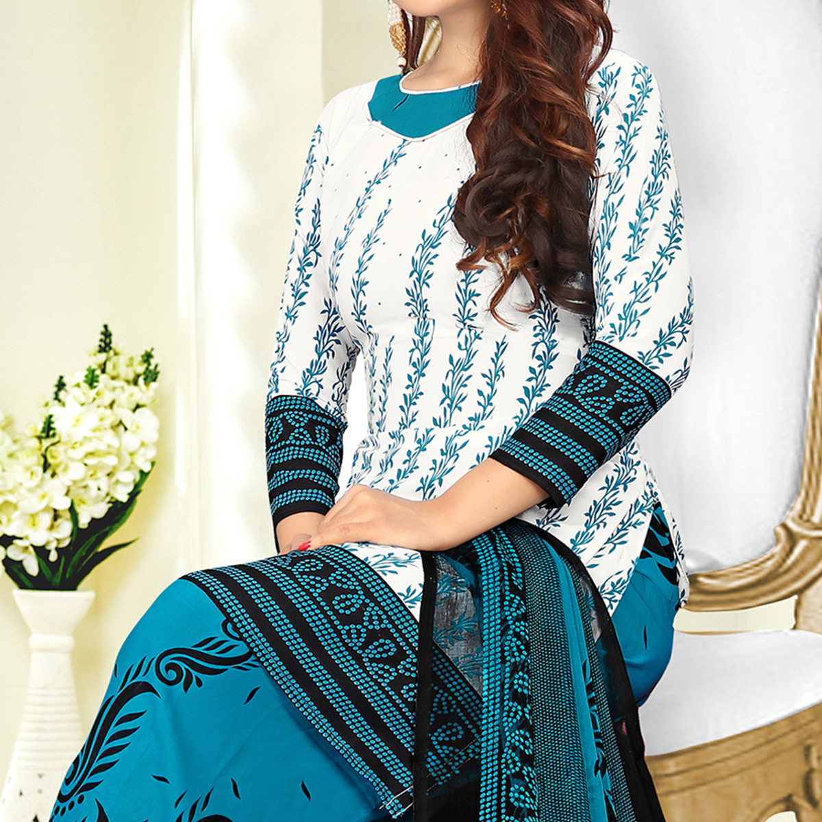 Alluring White-Blue Colored Casual Printed Crape Dress Material