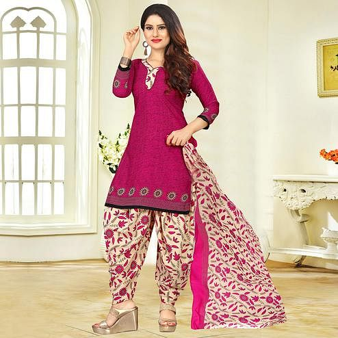 Sensational Magenta Pink Colored Casual Printed Crape Dress Material