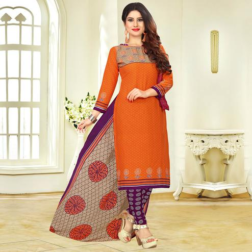 Opulent Orange Colored Casual Printed Crape Dress Material