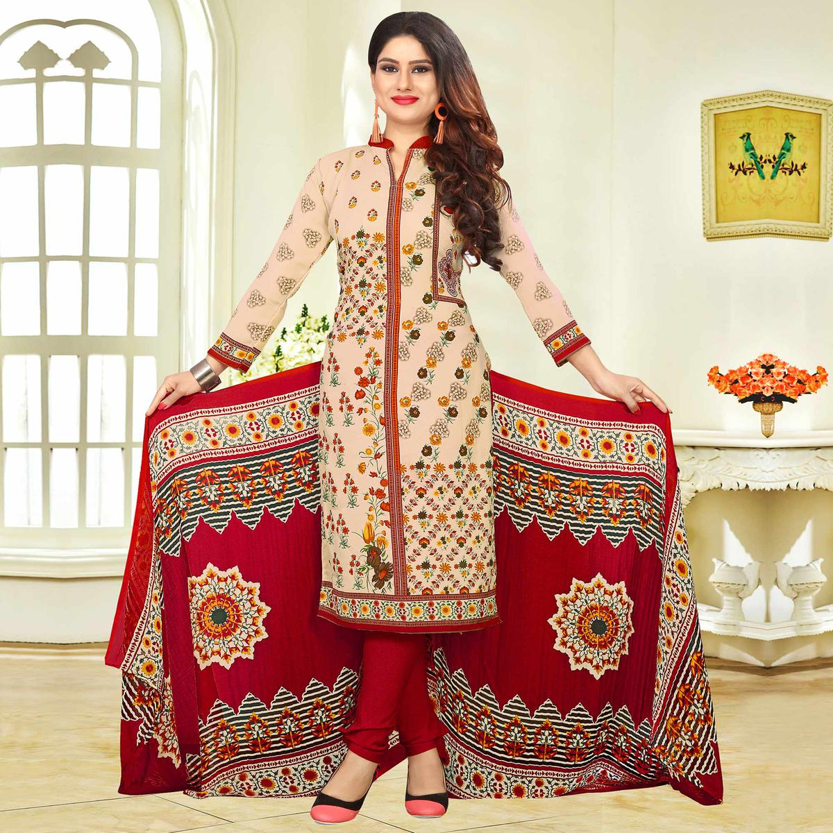 Dazzling Beige-Maroon Colored Casual Printed Crape Dress Material