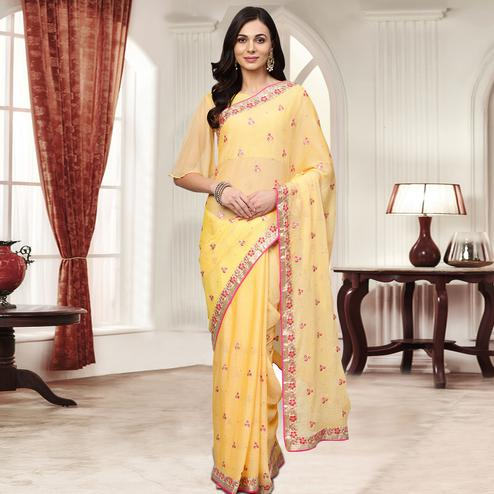 Opulent Light Yellow Colored Party Wear Embroidered Chiffon Saree