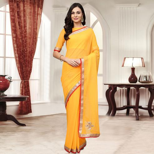 Dazzling Yellow Colored Party Wear Embroidered Chiffon Saree