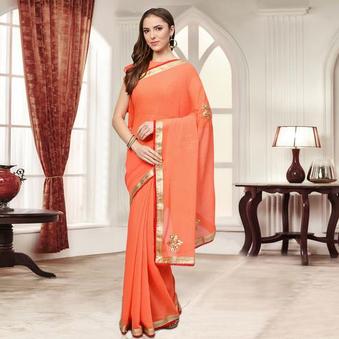 Flattering Peach Colored Party Wear Embroidered Chiffon Saree