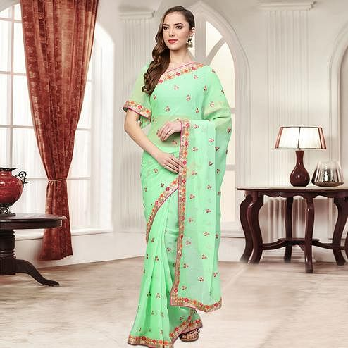 Impressive Green Colored Party Wear Embroidered Chiffon Saree