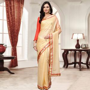 Innovative Golden Colored Party Wear Embroidered Chiffon Saree