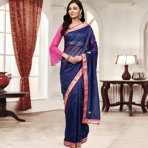 Gleaming Navy Blue Colored Party Wear Embroidered Chiffon Saree