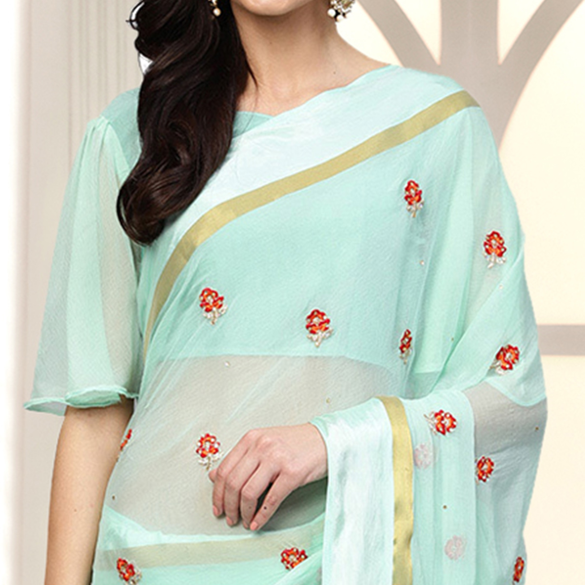 Exceptional Sky Blue Colored Party Wear Embroidered Chiffon Saree