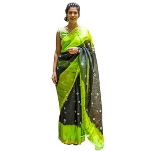 Black - Green Bandhani Print Saree