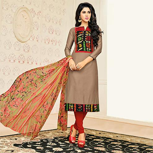Lovely Beige Designer Chanderi Cotton Dress Material
