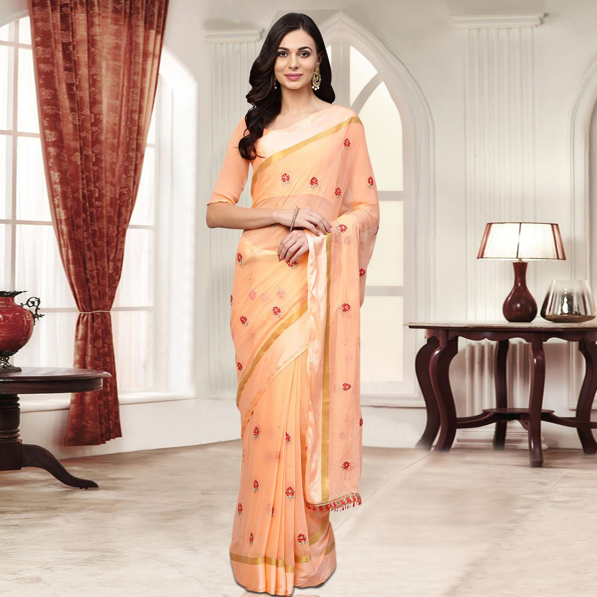 Excellent Light Peach Colored Party Wear Embroidered Chiffon Saree