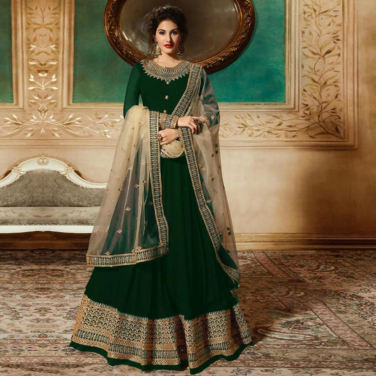Stunning Green Colored Partywear Embroidered Faux Georgette Anarkali Suit