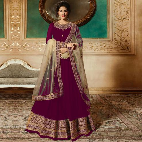 Fantastic Dark Pink Colored Partywear Embroidered Faux Georgette Anarkali Suit