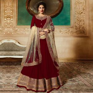 Gorgeous Red Colored Partywear Embroidered Faux Georgette Anarkali Suit