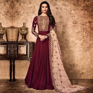 Stunning Maroon Colored Partywear Embroidered Faux Georgette Anarkali Suit