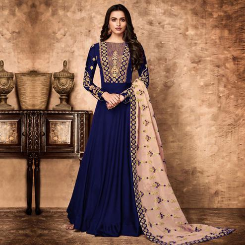 Marvellous Blue Colored Partywear Embroidered Faux Georgette Anarkali Suit