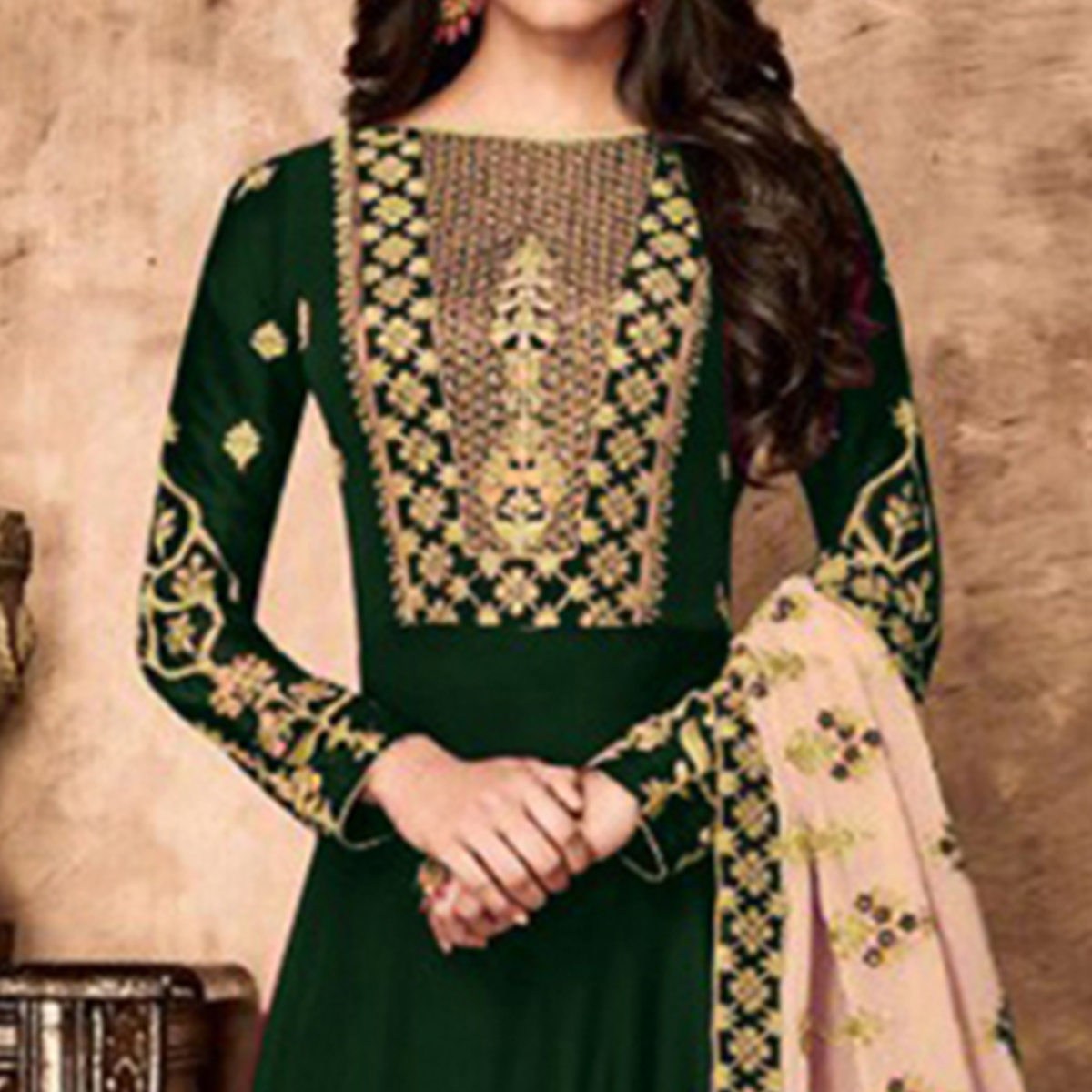 Fantastic Green Colored Partywear Embroidered Faux Georgette Anarkali Suit