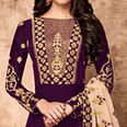 Amazing Purple Colored Partywear Embroidered Faux Georgette Anarkali Suit