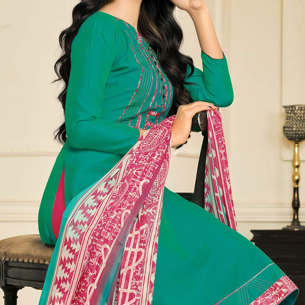 Desirable Green Designer Chanderi Cotton Dress Material
