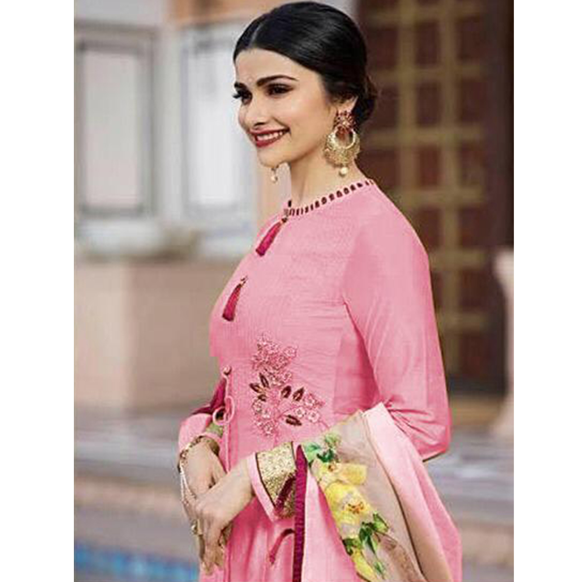 Hypnotic Pink Colored Partywear Embroidered Art Silk Anarkali Suit