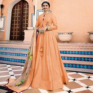 Arresting Peach Colored Partywear Embroidered Art Silk Anarkali Suit