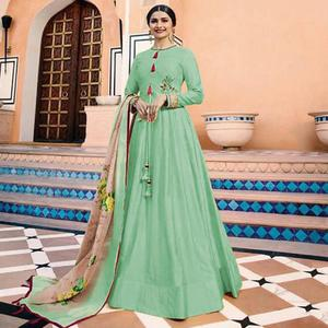 Exceptional Mint Green Colored Partywear Embroidered Art Silk Anarkali Suit
