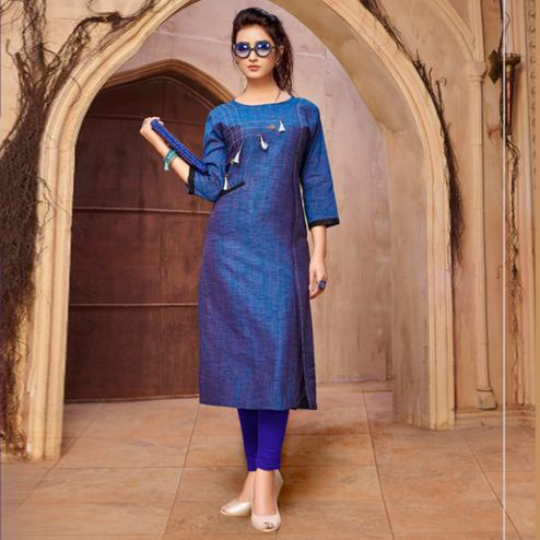Classy Blue Colored Casual Wear Khadi Cotton Kurti