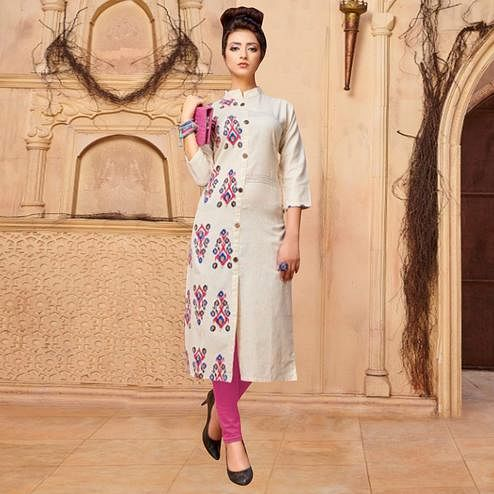 Beautiful Off White Colored Casual Printed Khadi Cotton Kurti