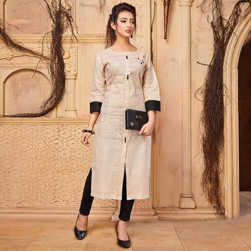 Amazing Beige Colored Casual Wear Khadi Cotton Kurti