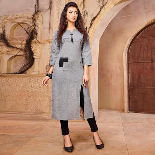 Trendy Gray Colored Casual Wear Khadi Cotton Kurti