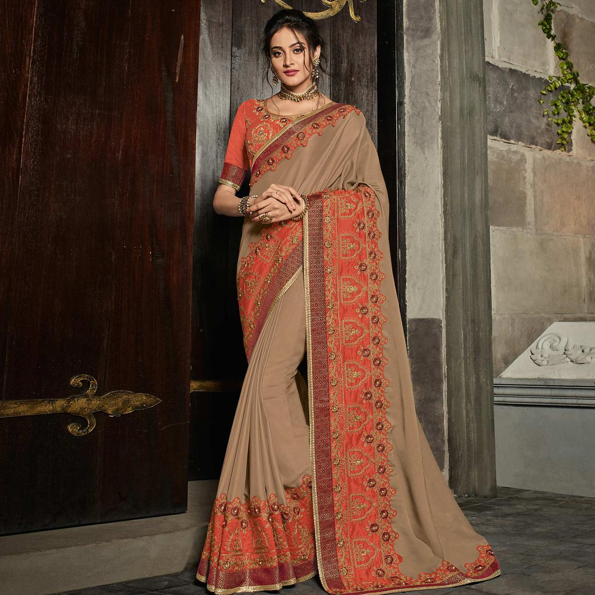 Intricate Brown Colored Partywear Embroidered Georgette Saree