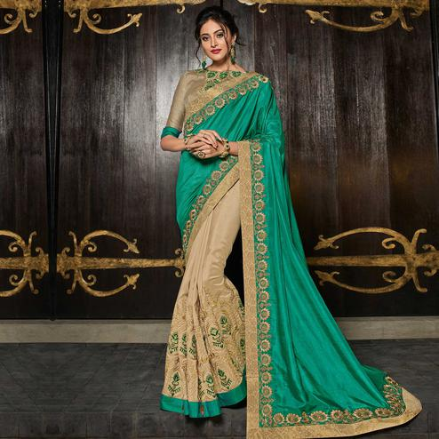 Sophisticated Green & Beige Colored Partywear Embroidered Silk Half-Half Saree