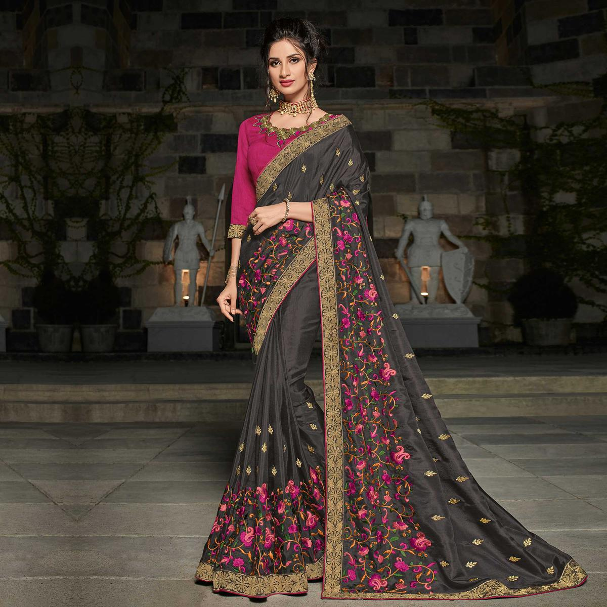 Demanding Black Colored Partywear Embroidered Silk Saree
