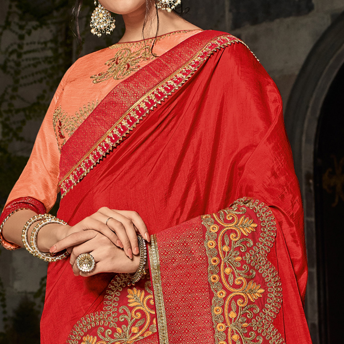 Unique Red & Orange Colored Partywear Embroidered Silk Half-Half Saree