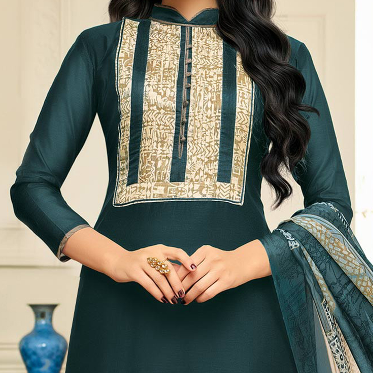 Stylish Bottle Green Designer Chanderi Cotton Dress Material