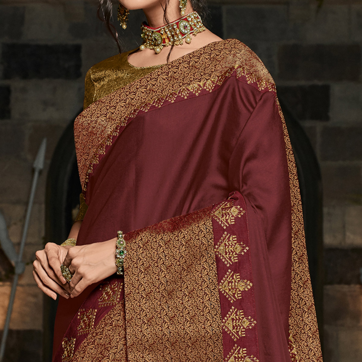 Refreshing Maroon Colored Partywear Embroidered Silk Saree