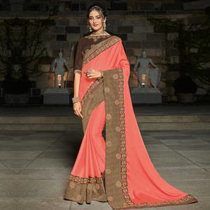 Sensational Pink Colored Partywear Embroidered Georgette Saree