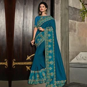 Flattering Blue Colored Partywear Embroidered Silk Saree