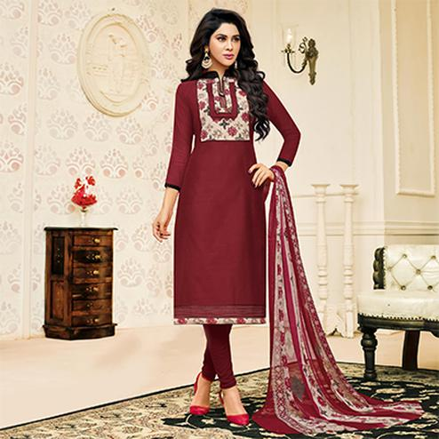 Mesmerising Maroon Designer Chanderi Cotton Dress Material