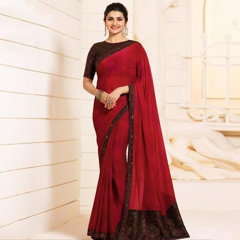 Mesmerising Maroon Colored Partywear Embroidered Silk Saree