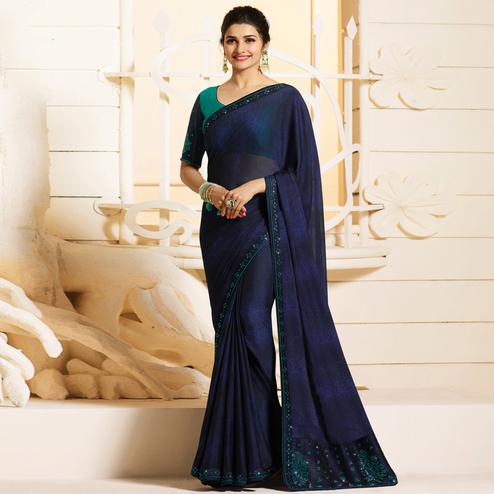 Stylish Navy Blue Colored Partywear Embroidered Georgette Saree