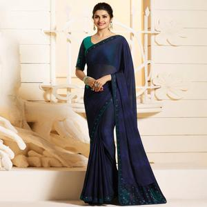 Stylish Navy Blue Colored Partywear Embroidered Silk Saree