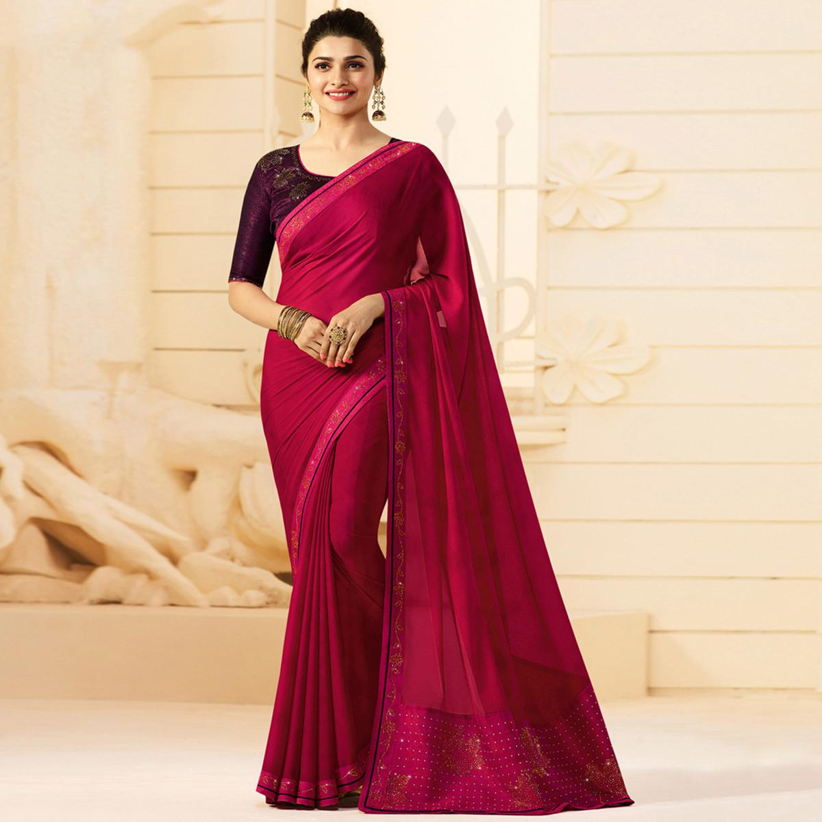 Sensational Fuchsia Pink Colored Partywear Embroidered Silk Saree