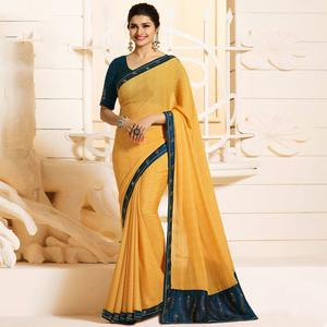 Impressive Yellow Colored Partywear Embroidered Silk Saree